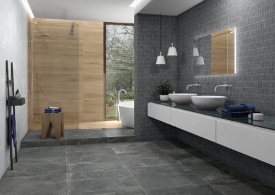 Wallstone Dark Blocks White 29x89 SLIMRECT, Tanzania honey 20x120 A