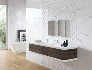 luxusna leskla mramor 3D vzor vlny vlnky biela jemna kupelka kupelna novinka 2020 Azulev Sanchis