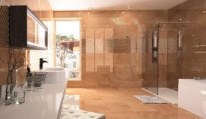luxusná dizajnová lesklá hnedá béžová kúpeľňa