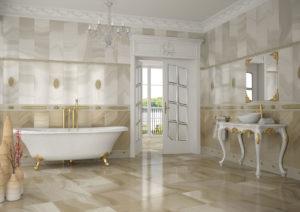 luxusná dizajnová lesklá béžová kúpeľňa