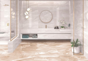 luxusná dizajnová lesklá biela sivá perleťová béžová kúpeľňa