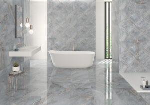 luxusná dizajnová modrá mramorová kúpelňa dlažba obklad