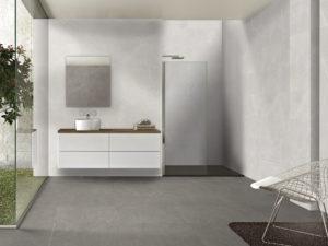 moderný obklad moderná kúpeľňa sivá perleľová