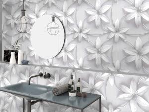 biele kvety 3D vzor dizajnový obklad