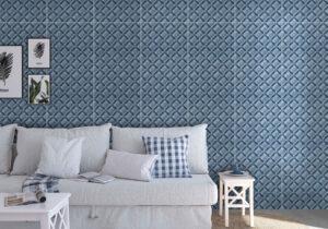 dizajnový modrý obklad s 3D vzorom