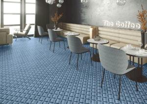 moderná modrá dizajnová dlažba Ceracasa 3D vzor