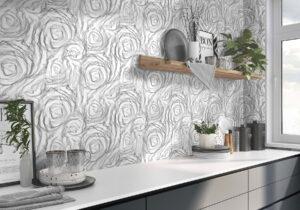 dizajnový obklad s 3D vzorom kvety sivá čiernobiela novinka Ceracasa
