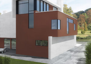 červený hnedý fasadny obklad na dom Ceracasa