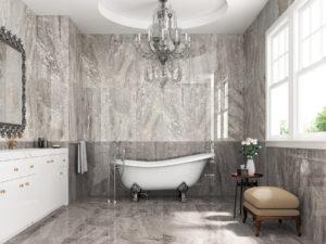 luxusná dizajnová lesklá sivá perleťová kúpeľňa