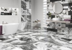 dizajnová lesklá nápadná luxusná kúpeľna obklad