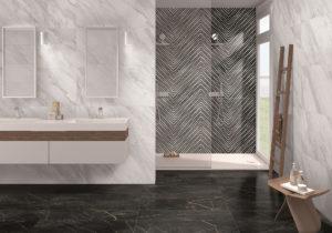 luxusná dizajnová lesklá biela sivá perleťová čierna vzor kúpeľňa