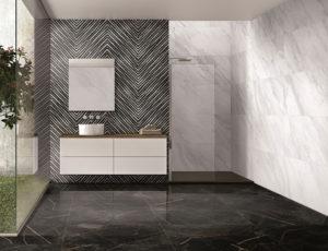 dizajnová luxusná čierno biela lesklá kúpeľňa