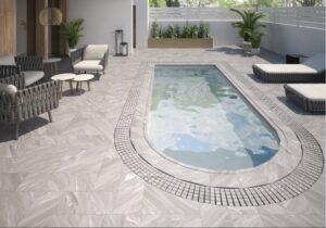 terasovina exterier dlažba k bazenu siva mramorova porcelan Gres Aragon