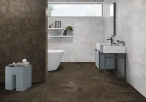 moderná kúpelňa kupelka kovový efekt matný obklad polomatný poloslek lapatto hnedý obklad dlažba