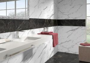 dizajnová čierna biela kúpeľňa