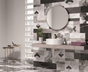 dizajnová luxusná lesklá čierno biela čierna kúpeľňa